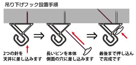 天井フック設置方法